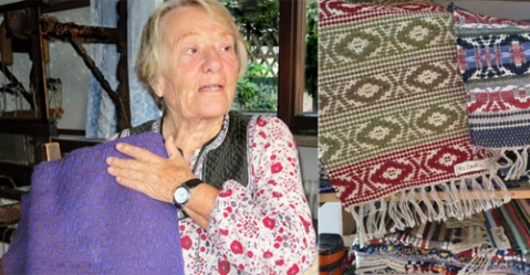 Liesl in 2013 with her masterpiece weaving and the farmhouse baroque patterns.