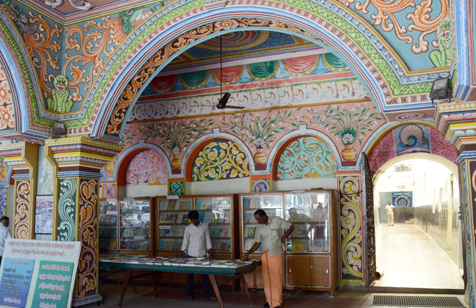 Bookstore on left, entrance hall to the Saravasti Library on the right