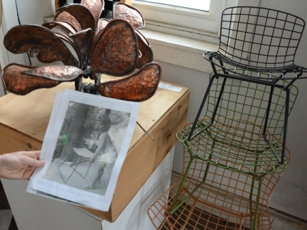 Bertoia's daughter and chair prototype, both 1955 babies.