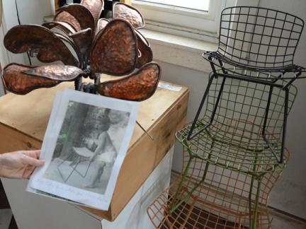 Bertoia's daughter and chair prototype, both 1955 babies.