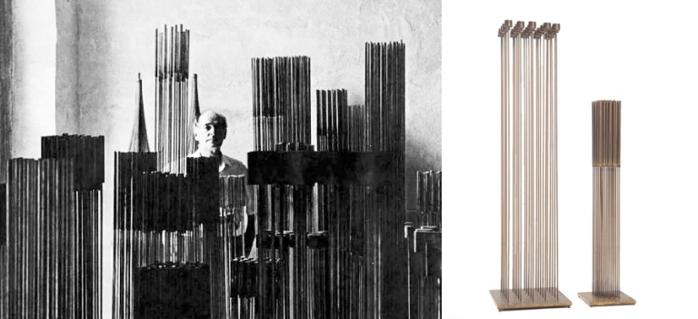 Bertoia with his sculptures, inside the music barn on his property.