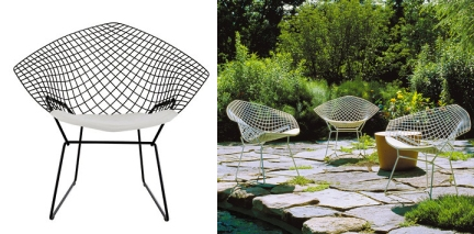 The Diamond series is constructed from steel rods with either a chrome or coated finish. Florence Knoll suggested the use of a metal coating on the wire rods after observing her kitchen dish rack drainer. (Images from the Diamond series, credit: Knoll International.)