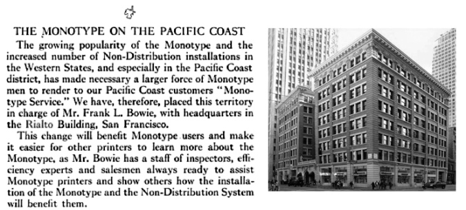 Announcing the California location of Lanston Monotype in the Rialto Building at 116 New Montgomery Street.