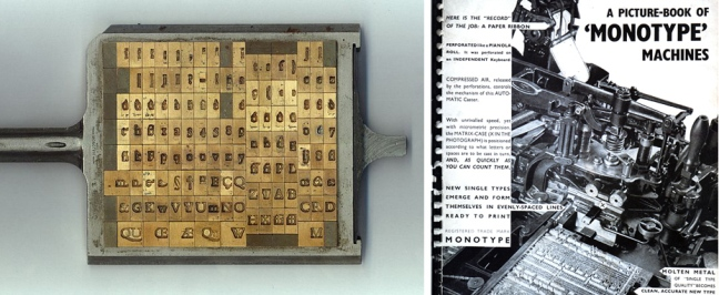 "That perforated or ""programmed"" ribbon next moved to the type-caster where it directed the casting of metal type characters from molten metal. The type was deposited in galleys in the correct sequence (type composition). Within the caster lay the brass matrix (above left). Later after the type was no longer needed, it was melted down for reuse rather than hand-distributed back in storage. (Monotype was softer than traditional foundry type and wore more quickly.) This ""non-distribution"" system saved countless hours of work."