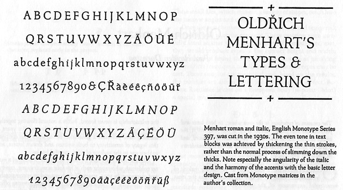 """A sample of Menhart's Monotype design from Fine Print on Type, """"Oldrich Menhart"""", by Paul Duensing, San Francisco, 1989."""
