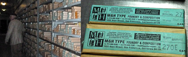 Cast type in the M&H inventory. the figure on the left is Andrew Hoyem of Arion Press speeding  us through that dark and silent Sunday at the shop.