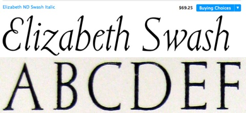Top row: Balius created a roman, italic and Swash italic. Bottom row : Original Elizabeth taken from Pauline Pauker's, The Working life of Elizabeth Friedlander.