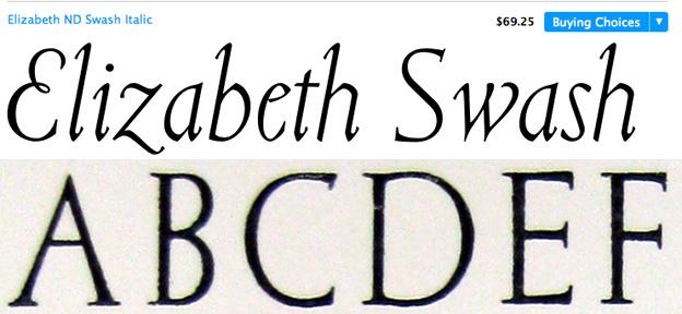 Top row: Balius created a roman, italic and Swash italic. Bottom row : Original Elizabeth taken from Pauline Pauker's, The Working life of Elizabeth Friedlander.
