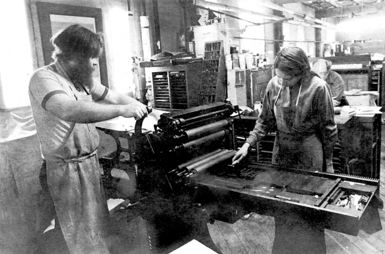 Dan Carr and Julia Ferrari printing together in 1985