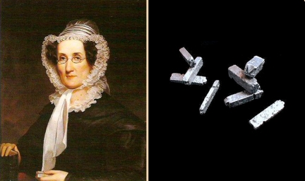 (left) Lynda Bailey (right) Type unearthed from site of Dinah Nuthead's press, St. Mary's City, Maryland