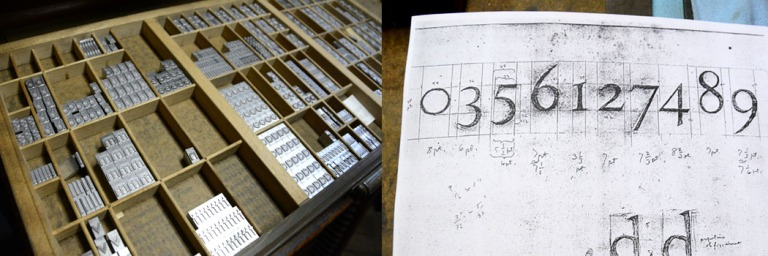 (Left) Type case with gleaming fresh type (Right) Carr's sketches for Regulus numerals.