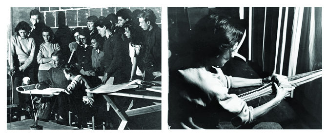 Joseph Albers teaching a drawing class, Annie Albers weaving. Photos from Western Regional Archives.