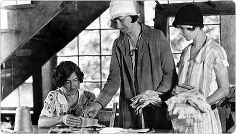 Lucy Morgan founded Penland School of Crafts, and is shown here in the Weaving Cabin, c. 1935, University of North Carolina Library, Chapel Hill, Bayard Wooten photograph