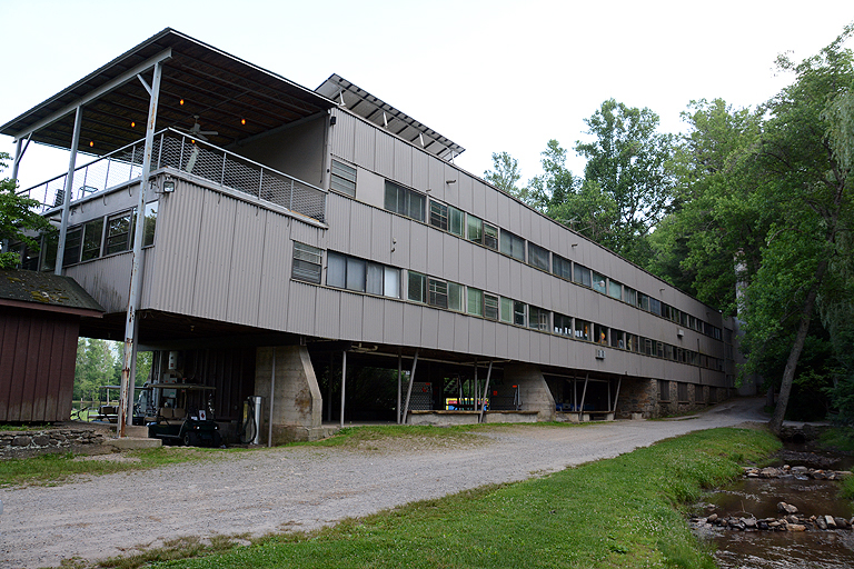 The studies building from the back.
