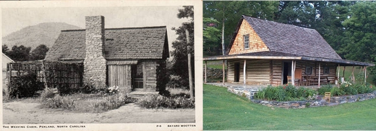 Original weaving cabin exterior (r) due shed on Penland campus today.
