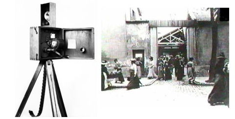 The Cinematographe and a scene from the first film.