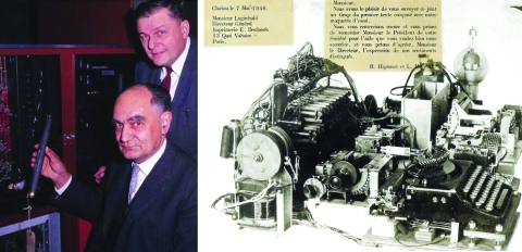 Higonnet and Moyroud with their invention and the workings of the first test prototype in France.