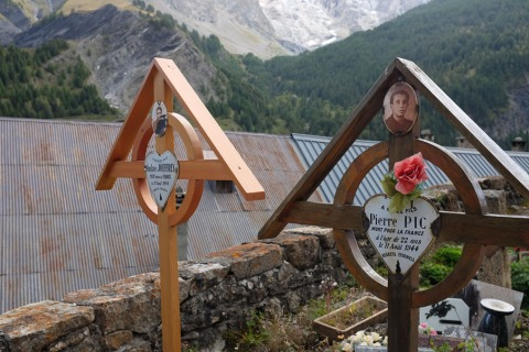 Young French Resistance fighters buried in their hometown of La Grave in the Haute Alps, west of Lyon.