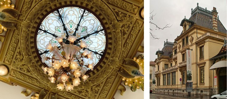 Portrait of the Lumière brother outside the museum, skylight chandelier and façade of museum.