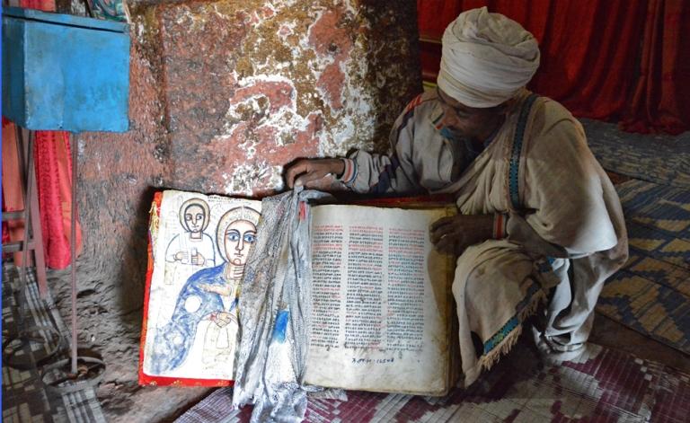 The monks safeguard the ancient manuscripts but ceremoniously unveil them upon request