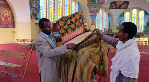 Inside the modern day St. Mary of Zion. The original church was destroyed by invading Muslims in the 16th century and rebuilt in the 1960's by then emperor Haile Selassie.