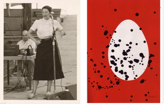 Mildred Constantine speaking at Aspen (previously mentioned as part of the Dot Zero advisory board) [13] and Aspen ad/poster by Alvin Lustig.