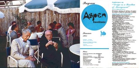Herbert Bayer (left) at the Aspen Design Conference (Photo: James Milmoe) Right: Bayer's Aspen Institute program design.