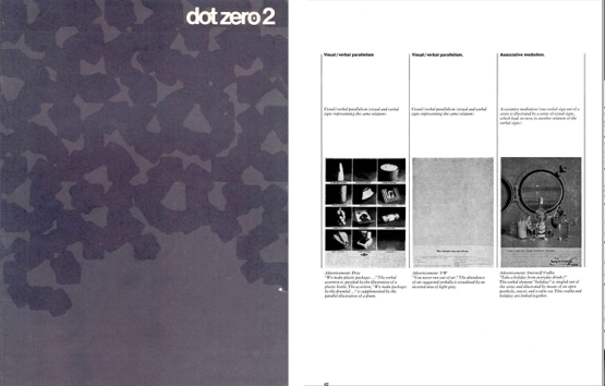 Dot Zero cover (left) and Bonsiepe's taxonomy of Visual and Verbal Parallelism and Associative Meditation.