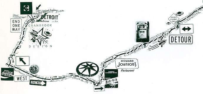 Map illustration detail by Ed Fella