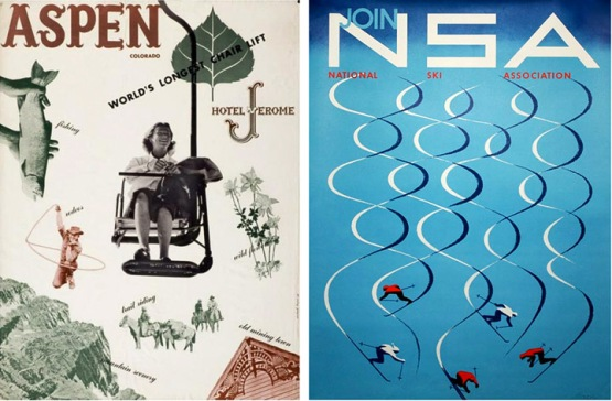 Two Bayer posters for Aspen, 1948 and 1957.