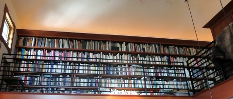One section of the McCoys' extensive design library at High Ground.