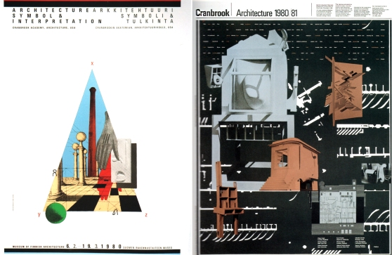 McCoy's 1980 posters for the Architecture departments at Cranbrook were organized with the Modernist grid but beginning to show other influences, including her exposure to Cranbrook Architecture chair, Daniel Liebeskind, who drew from a wide range of theoretical and philosophical works.