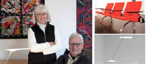 Katherine and Michael McCoy in 2015. Textile wall hangings of reclaimed fabrics are by Katherine. (right) Michael's Place Seating by Arconas (with Curtis Fentress). His Horizon Lamp by Humanscale (with Peter Stathis) has recently been included in the permanent collection of the Museum of Modern Art.