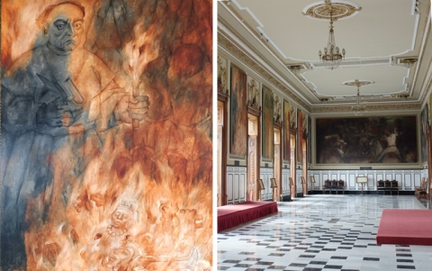 Murals of the book burning at Mani appear on the walls of the Plaza is the Palacio Municipal in Merida.