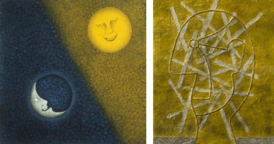 Tamayo's Mixografia prints.  (Left) Luna y Sol 1990, (Right) Perfil amarillo, 1979.